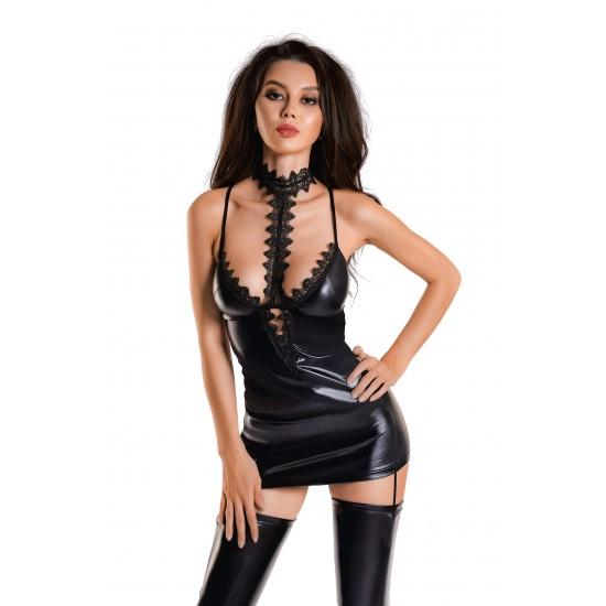 Платье с чокером Glossy Ivy из материала Wetlook, черное