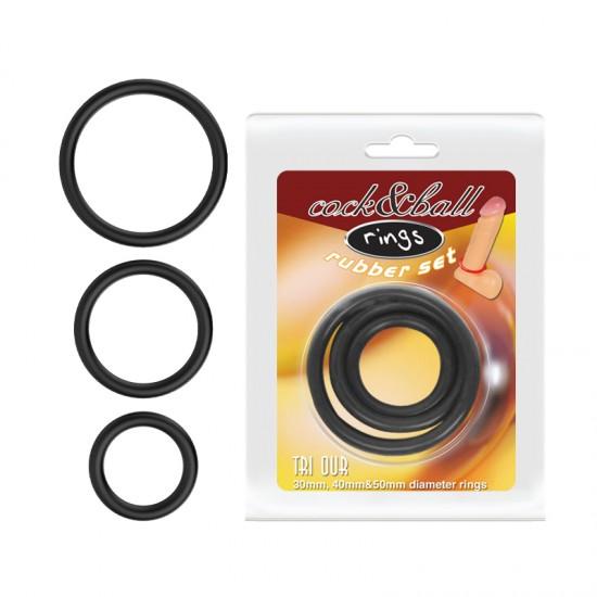 Набор Эрекционных колец Cock & Ball rings Rubber Set