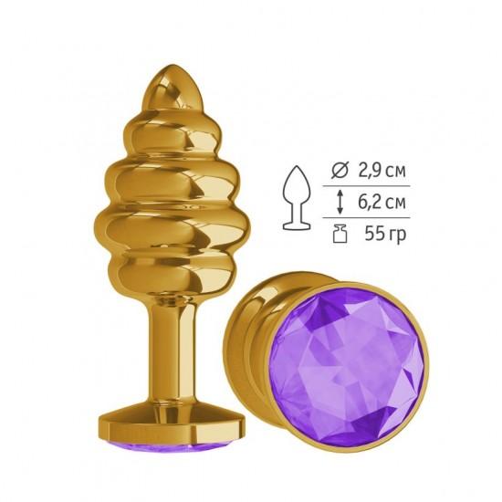 Анальная втулка Gold Spiral с фиолетовым кристаллом маленькая