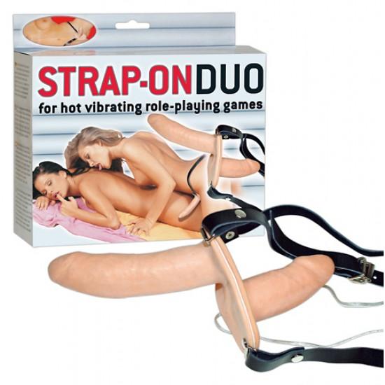 Страпон двойной для женщин с вибрацией ORION, c вибрацией