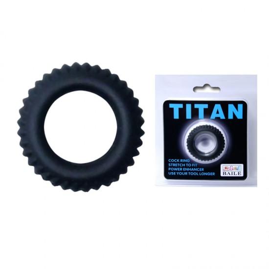 Эрекционное кольцо TITAN с ребрышками Baile