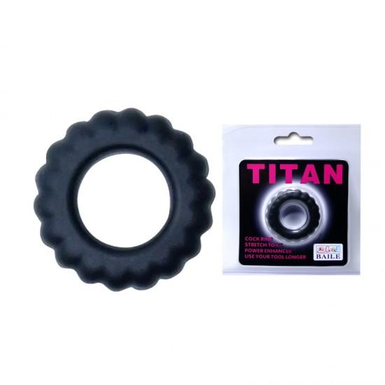 Эрекционное кольцо TITAN с крупными ребрышками Baile