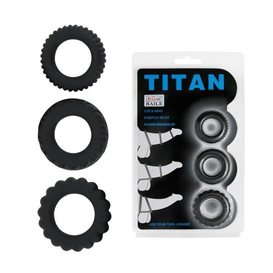 Набор эреционных колец TITAN имитация автомобильных шин Baile