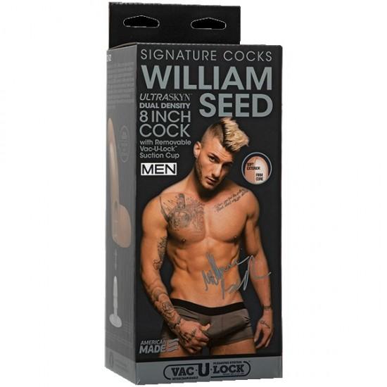 Фаллоимитатор с мошонкой на присоске необрезанный Signature Cocks - William Seed DJ Doc Johnson