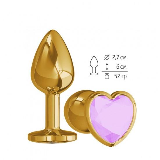 Анальная втулка Gold с сиреневым кристаллом сердце DD Джага-Джага МиФ