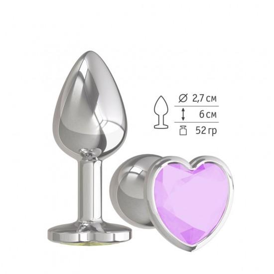 Анальная втулка Silver с сиреневым кристаллом сердце DD Джага-Джага МиФ