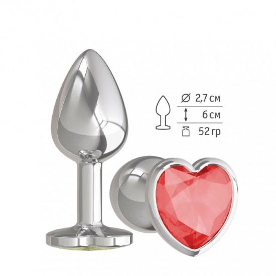 Анальная втулка Silver малая с кристаллом сердце DD Джага-Джага МиФ