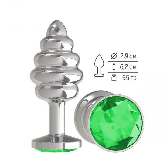 Анальная втулка Silver Spiral малая с зеленым кристаллом DD Джага-Джага МиФ