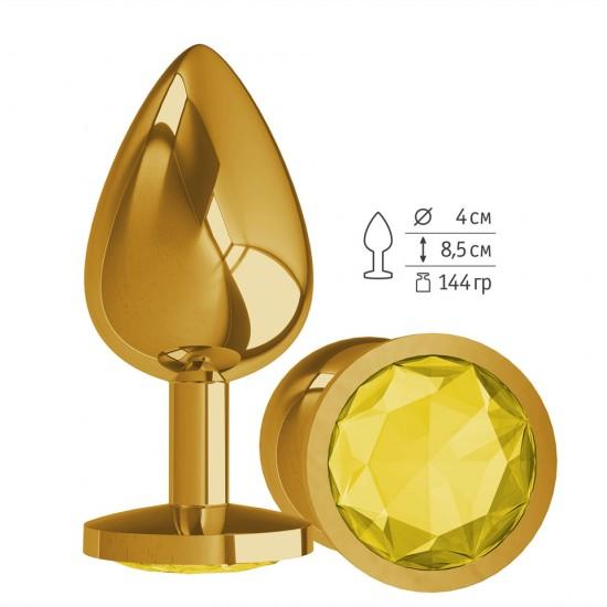 Анальная втулка Gold с Желтым кристаллом большая