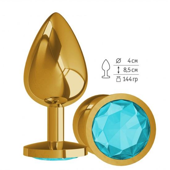 Анальная втулка Gold с Голубым кристаллом большая