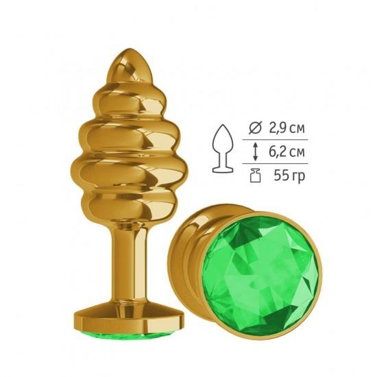 Анальная втулка Gold Spiral с зеленым кристаллом маленькая