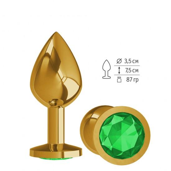 Анальная втулка Gold с зеленым кристаллом средняя