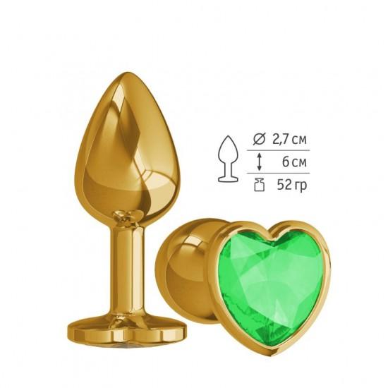 Анальная втулка Gold с зеленым кристаллом сердце маленькая