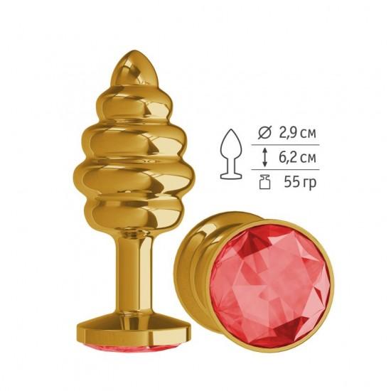 Анальная втулка Gold Spiral с красным кристаллом маленькая