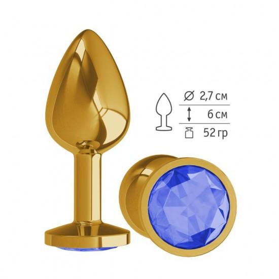 Анальная втулка Gold с синим кристаллом маленькая